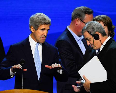 Sen. John Kerry (D-MA) practices on the podium for his speech tonight at the 2012 Democratic National Convention.
