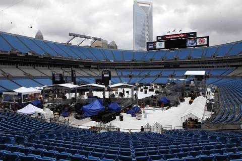 The setup for day two of the Democratic National Convention at Bank of America Stadium in Charlotte is dismantled after organizers decided to move to the Time Warner Cable Arena due to a forecast of rain.