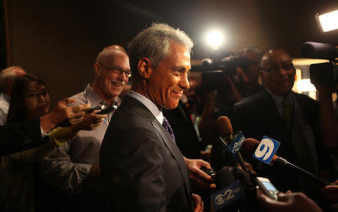 Chicago Mayor Rahm Emanuel answers a few questions from reporters after speaking at the Illinois delegation breakfast in Charlotte, N.C. this morning.