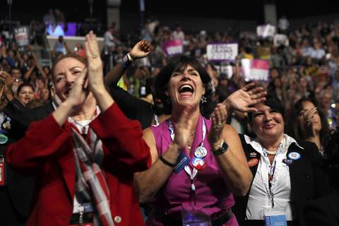 Lisa Starr from Westchester, Calif. cheers wildly for Democratic Leader and Congressman Nancy Pelosi during her speech at the Democratic National Convention at Time Warner Cable Arena in downtown Charlotte, N.C.