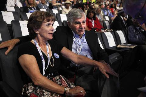 Kitty and MIchael Dukakis have front row seats at the Democratic National Convention at Time Warner Cable Arena in downtown Charlotte, N.C.