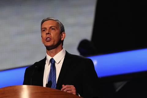 Secretary of Education Arne Duncan speaks at the Democratic National Convention at Time Warner Cable Arena in downtown Charlotte, N.C.