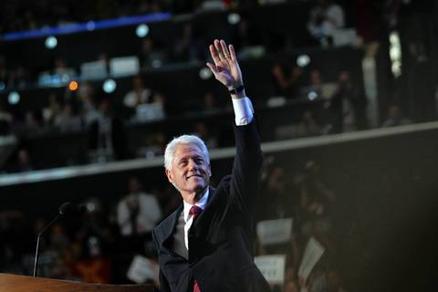 Former President Bill Clinton speaks at the Democratic National Convention at Time Warner Cable Arena in downtown Charlotte, N.C.