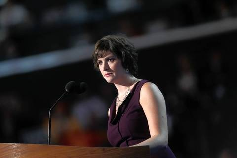 Attorney and women's rights activist Sandra Fluke speaks at the Democratic National Convention at Time Warner Cable Arena in downtown Charlotte, N.C.