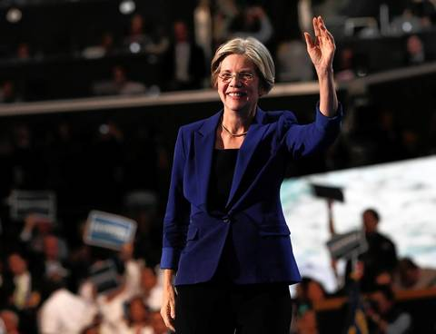 Massachusetts Senate candidate Elizabeth Warren speaks on Wednesday night, Sept. 5, 2012 at the Democratic National Convention at Time Warner Cable Arena in downtown Charlotte, N.C.