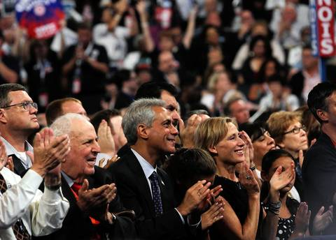 Chicago Mayor Rahm Emanuel and wife Amy Rule watch Bill Clinton speaks at the Democratic National Convention at Time Warner Cable Arena in downtown Charlotte, N.C.