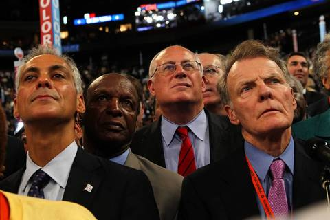 Chicago Mayor Rahm Emanuel, from left, Illinois Secretary of State Jesse White, Illinois Gov. Pat Quinn and Illinois House Speaker Michael Madigan declare Illinois' delegate votes for the nomination for president after former President Bill Clinton addressed the convention.