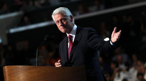 Former President Bill Clinton speaks at the Democratic National Convention in Charlotte, N.C.