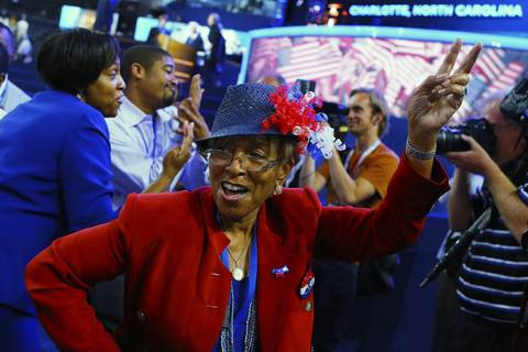 Conventioneers dance on day two of the Democratic National Convention.