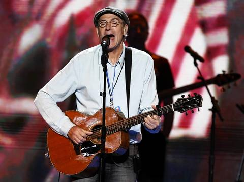 Singer James Taylor performs during a sound check prior to the final session of the Democratic National Convention