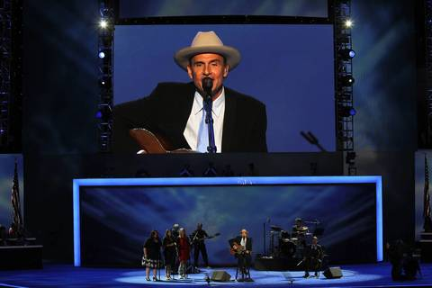 Singer James Taylor sings performs on the final day of the Democratic National Convention.