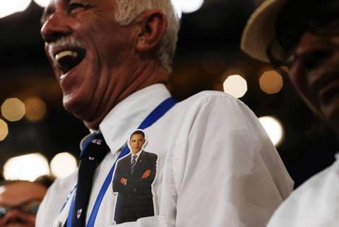 A man enjoys the final session of the Democratic National Convention