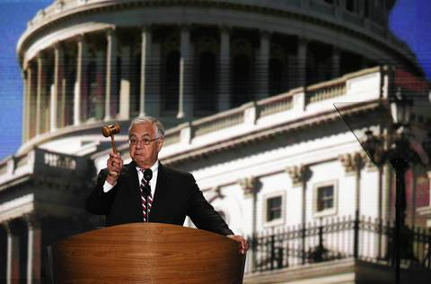 U.S. Rep. Barney Frank (D-MA) displays the gavel as he speaks on stage during the final day of the Democratic National Convention.