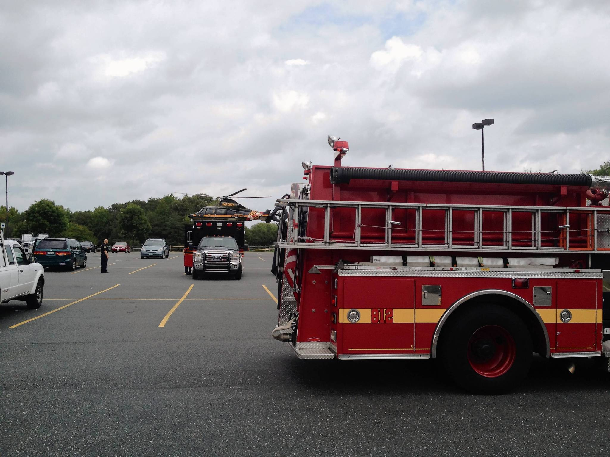 The Maryland State Police medevac helicopter landed in the parking lot of Edgewood Plaza to fly a 70-year-old man hit by a car early Wednesday afternoon to a regional trauma center.