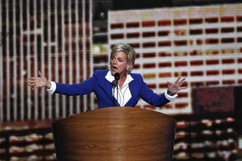 Former Michigan Governor Jennifer Granholm speaks during the Democratic National Convention at Time Warner Cable Arena in downtown Charlotte, N.C.