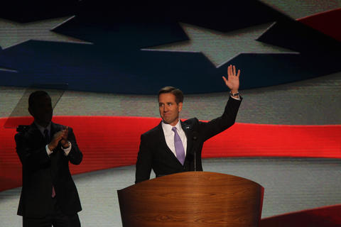 Deleware Attorney General Beau Biden nominates his father, Joe Biden, for vice-president during the Democratic National Convention at Time Warner Cable Arena in downtown Charlotte, N.C.