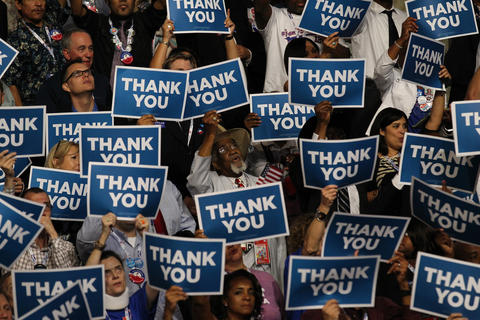 Convention attendees thank veterans from the Iraq and Afghanistan wars during their appearance onstage during the Democratic National Convention at Time Warner Cable Arena in downtown Charlotte, N.C.