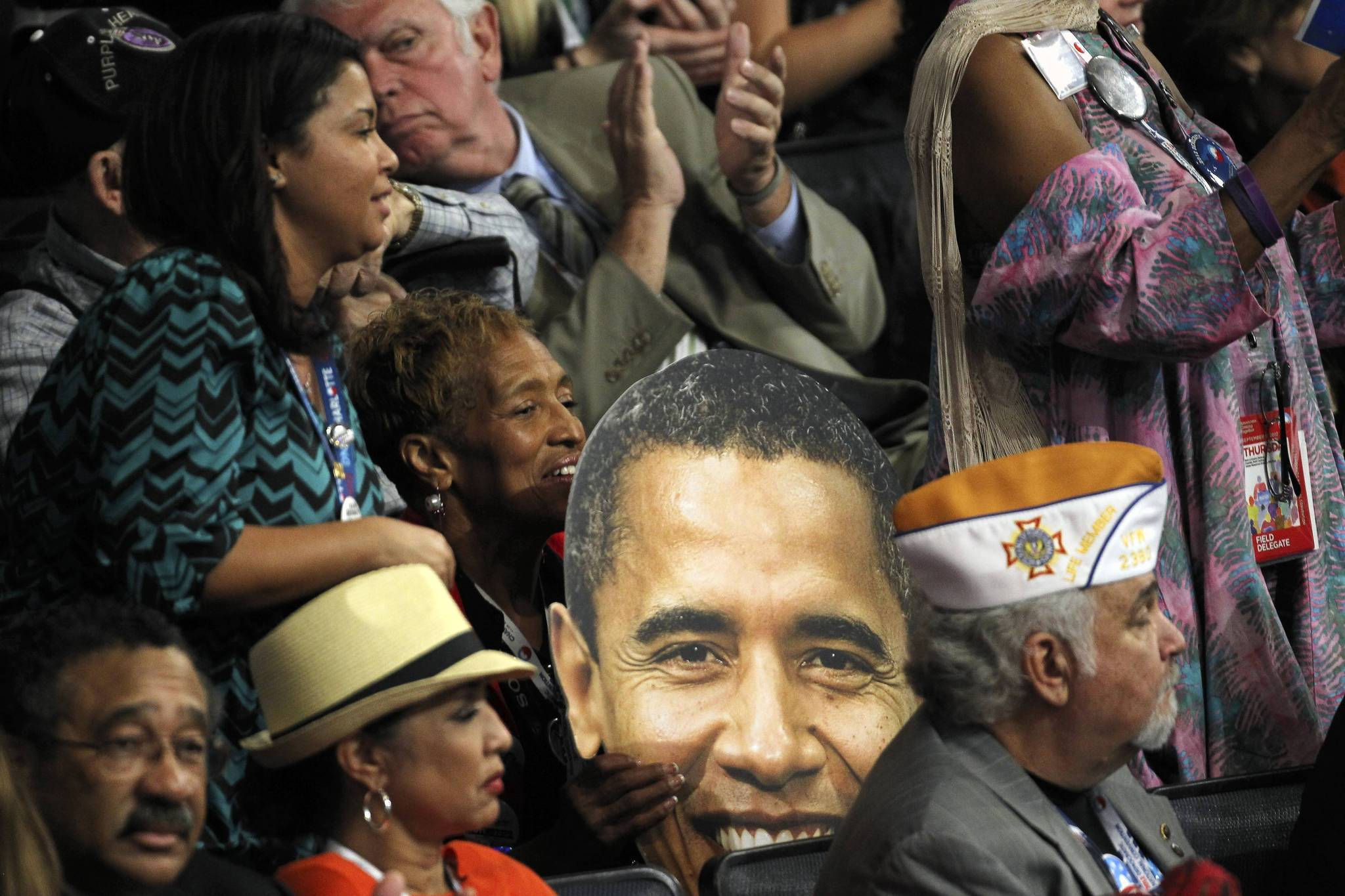 An oversize picture of President Barack Obama's head was visible Thursday in the audience at the Democratic National Convention in Charlotte, N.C.