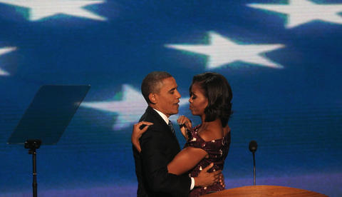 President Barack Obama is welcomed on stage by first lady Michelle Obama at the Democratic National Convention in Charlotte, N.C.