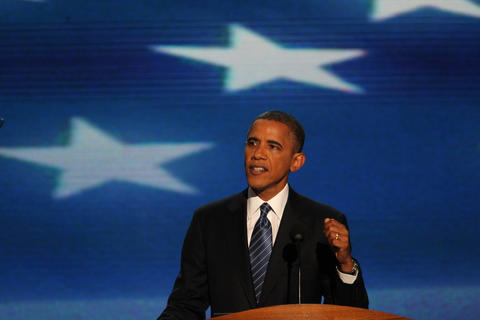 President Barack Obama assresses the Democratic National Convention at Time Warner Cable Arena in downtown Charlotte, N.C.