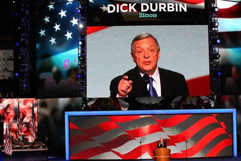 Senator Dick Durbin, D-IL, introduces President Barack Obama during the Democratic National Convention at Time Warner Cable Arena in downtown Charlotte, N.C.