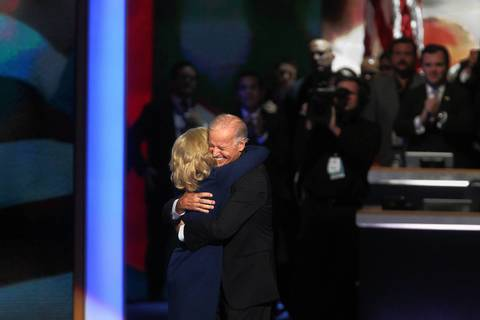 Jill Biden hugs her husband, Vice President Joe Biden, after his speech at the Democratic National Convention at Time Warner Cable Arena in downtown Charlotte, N.C.
