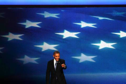 President Barack Obama addresses the Democratic National Convention at Time Warner Cable Arena in downtown Charlotte, N.C.