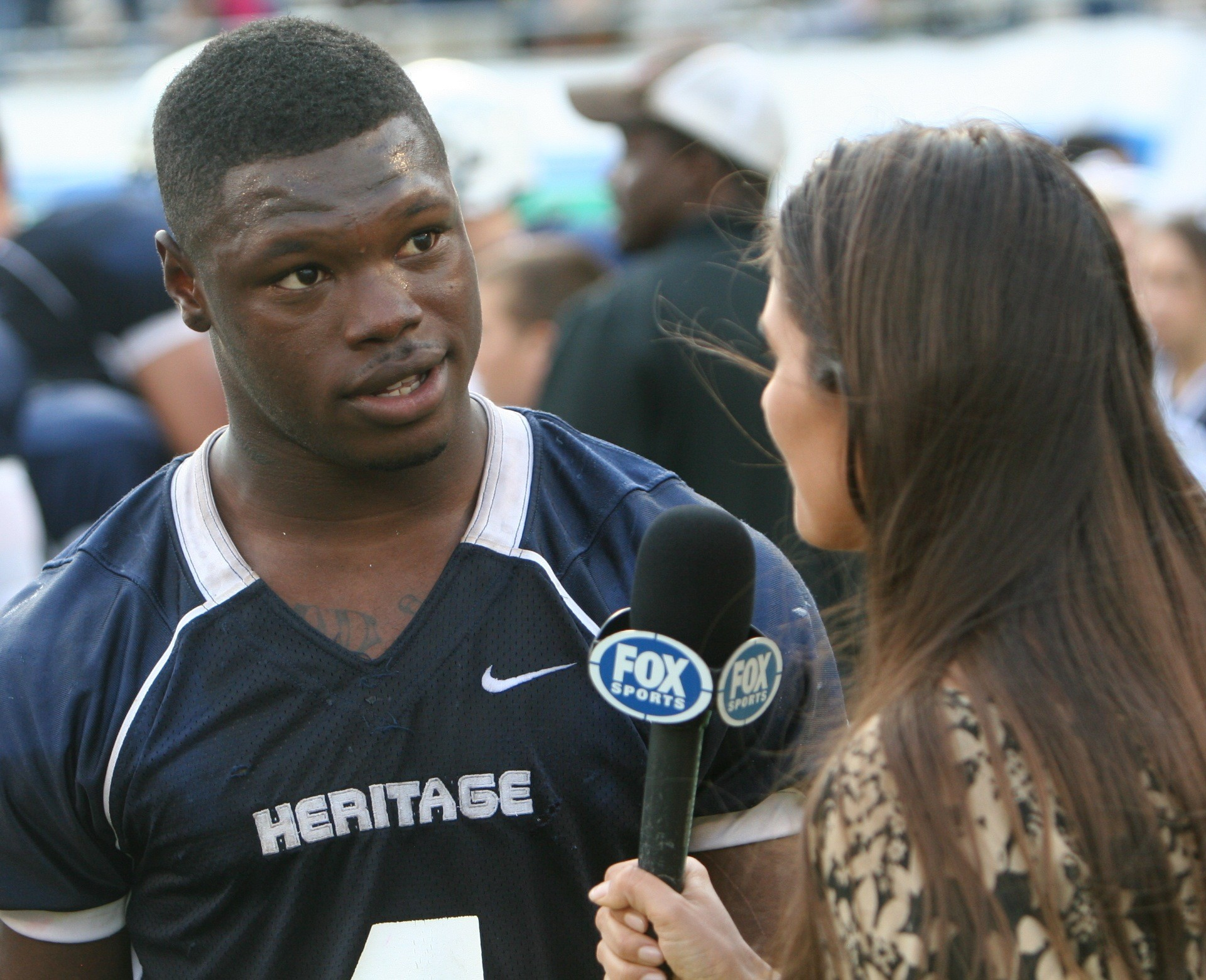Delray Beach American Heritage running back Greg Bryant talks with Fox reporter Jessica Blaylock  following the Stallions 4A state title victory at the Citrus Bowl last season.