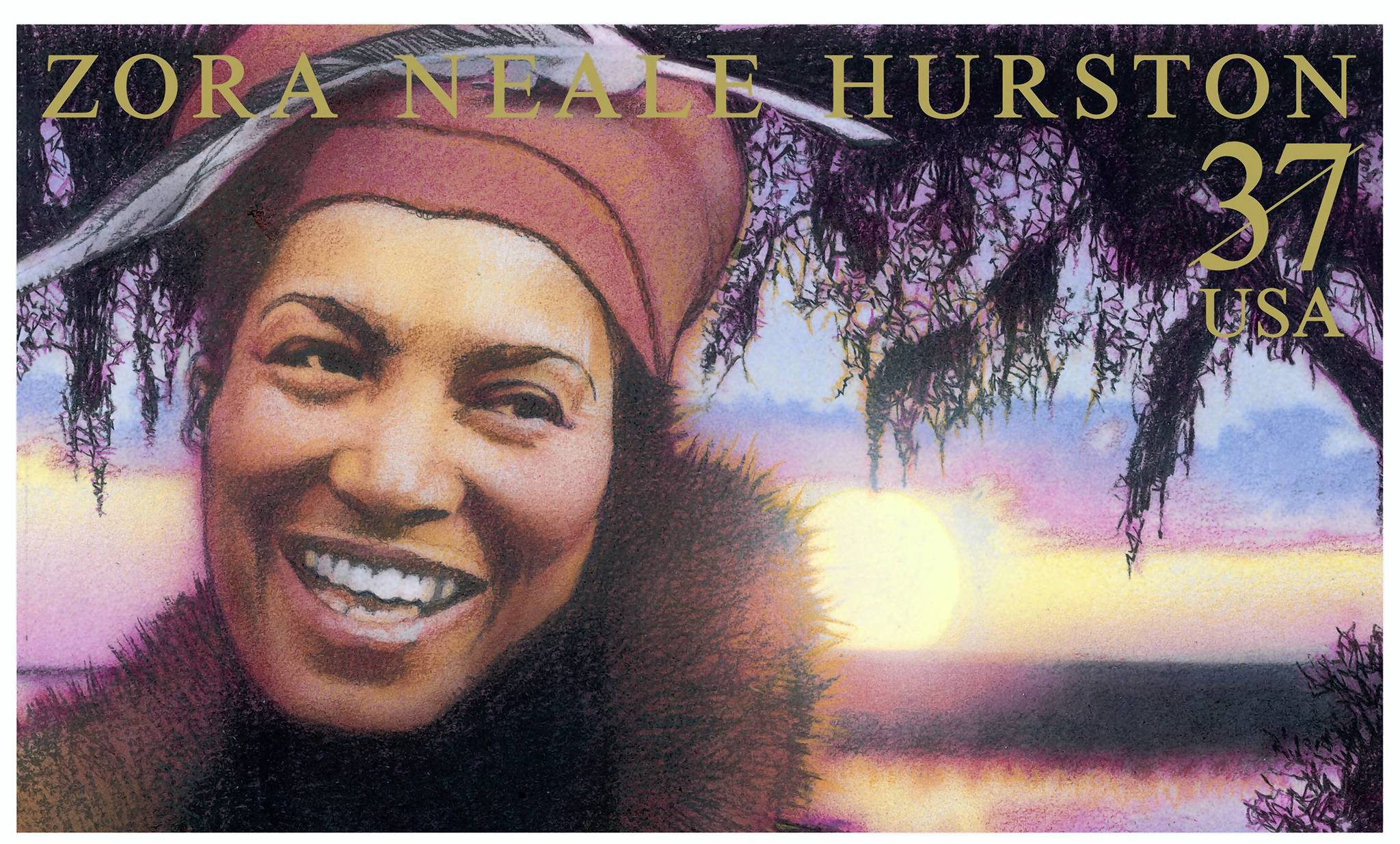 A U.S. stamp featured author Zora Neale Hurston in 2003, pictured against a lake-view sunset in Eatonville. A 2-day conference in Eatonville on Sept. 20-21 will celebrate the 75th anniversary of the publication of Hurston's novel 'Their Eyes Were Watching God.' The event features top Hurston experts, tours, and an old-time fish fry. For details, go to zorafestival.com or call 407-647-3307.