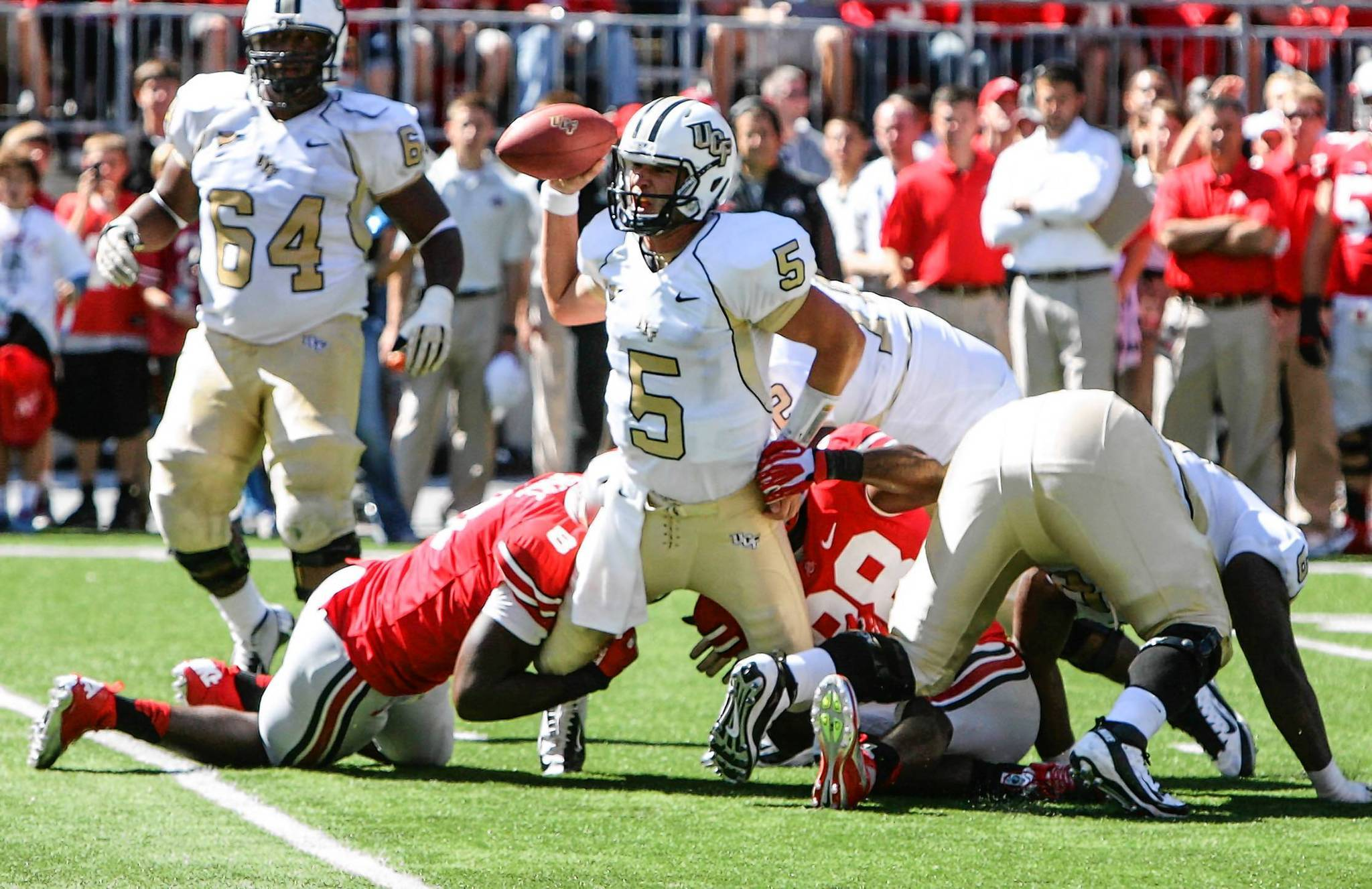 UCF quarterback Blake Bortles gets sacked in the final seconds of a nonconference game against Ohio State on Saturday, September 8, 2012, in Columbus, Ohio.