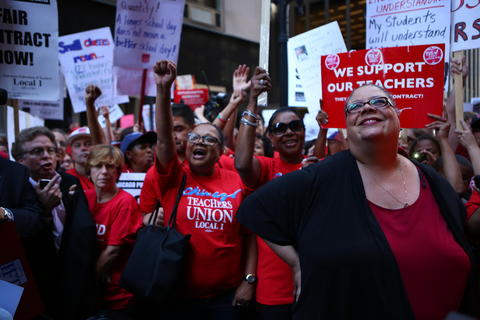 Chicago Teachers Union President Karen Lewis attends a rally Tuesday afternoon in Chicago on the second day of the Chicago teachers strike.