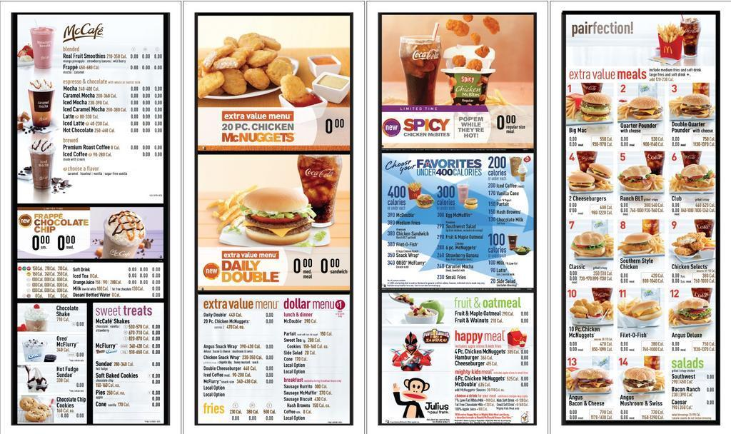 Preview of mcdonald s new menu boards with calorie counts mcdonald