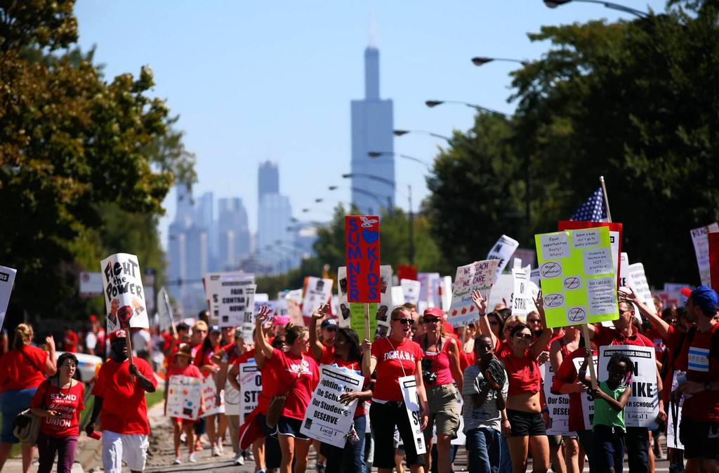 CTU members rally near Marshall High School on the West Side of Chicago.