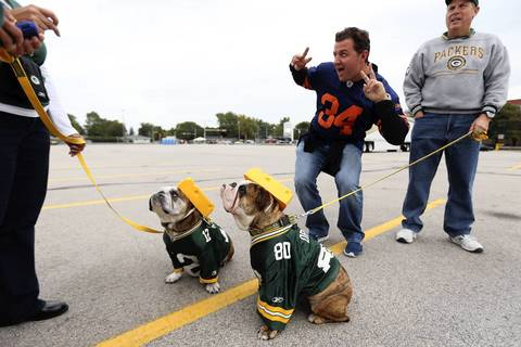 Bears fan Chris Cassata of Chicago photo bombs bulldogs Packer and Vince Lombardi outside Lambeau Field.