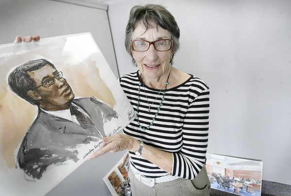 Umatilla courtroom sketch artist Barbara Maxwell poses with one of her courtroom sketches  at the Lake Eustis Museum of Art on Monday, September 10, 2012. Some of Maxwells drawings include Lou Pearlman and Wesley Snipes cases in federal court and Judy Buenoano, known as the Black Widow, who poisoned her husband and went to the electric chair in 1998. They will be on display at the museum. Barbara Maxwell: An Artists Eye opens with a reception and informal talk from 6 to 8 p.m. Friday. (Tom Benitez/Orlando Sentinel)