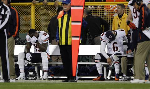 Brandon Marshall and Jay Cutler on the bench in the 4th quarter.