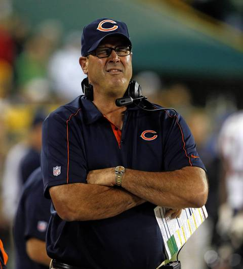 Bears offensive coordinator Mike Tice watches the end of the loss to the Packers.
