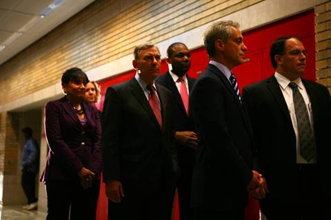 Chicago Mayor Rahm Emanuel (second from right) prepares to make a brief statement about the end of the Chicago Teachers Union strike at Walter Payton College Prep. Accompanying the mayor are Chicago Public Schools CEO Jean-Claude Brizard (third from right) and Chicago Board of Education President David Vitale (fourth from right).