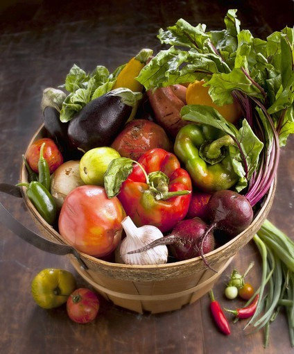 Farm basket filled with nutritious produce.