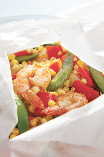 Five-Spice Shrimp and Vegetable Packets.