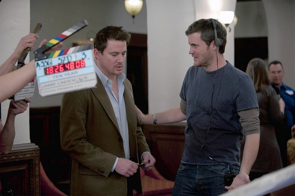 Jamie Linden, right, works with Channing Tatum on the set.