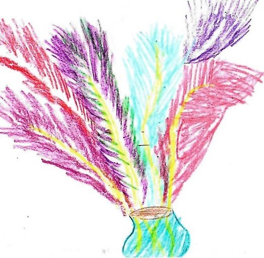 """Bouquet of Feathers"" was drawn by Natalie, 7, of Clover Elementary in Los Angeles."