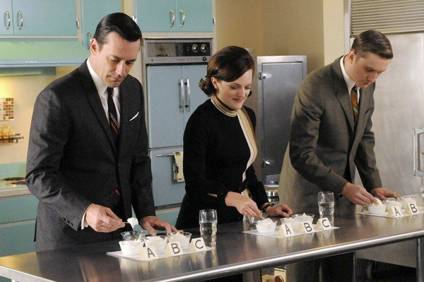 Jon Hamm, Elisabeth Moss and Aaron Staton in a scene from &quot;Mad Men.&quot;