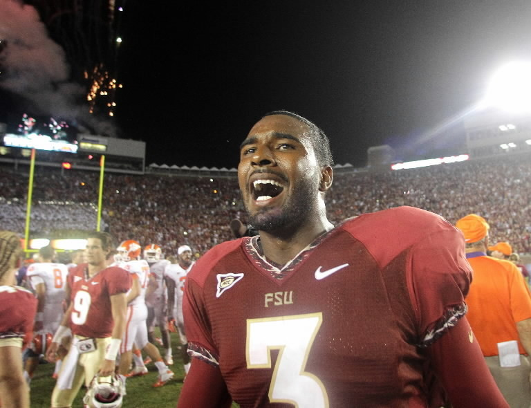 Florida State quarterback EJ Manuel shouts in joy after rallying his team to beat Clemson, 49-37, Saturday night in Tallahassee.