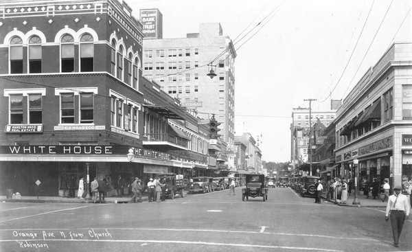 "This scene of Orange Avenue at Church Street appears in the recently published book ""Lost Orlando,""  which presents many never-before published images from the city's past. Authors Stephanie Gaub and Antequino and Tana Mosier Porter include fresh information about the location of many now-gone buildings and about their owners."