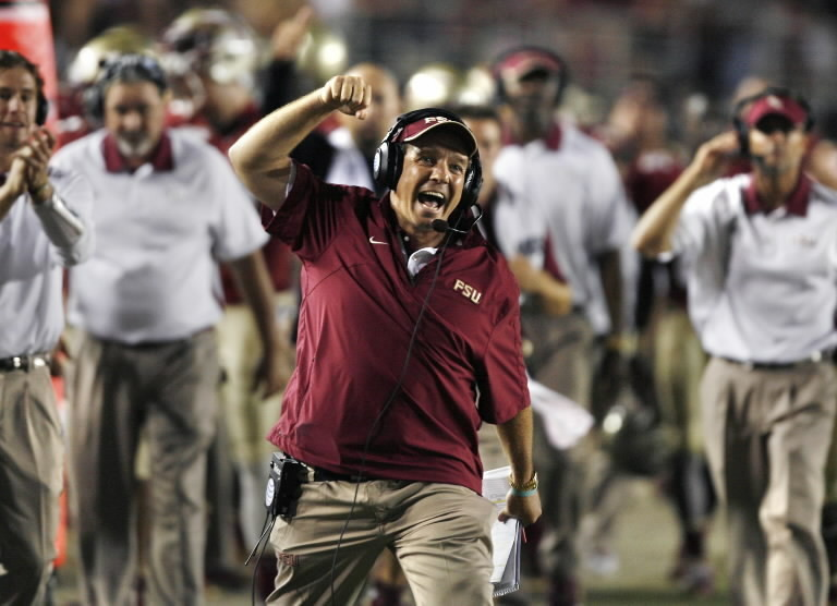 FSU coach Jimbo Fisher celebrates late in the game between Clemson at Florida State game at Doak Campbell Stadium in Tallahassee. FSU won 49-37.