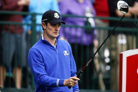 European Ryder Cup Justin Rose takes aim on the first tee during the second day of team practice at the Medinah Country Club.
