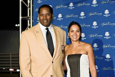 Hall of Fame Bears player Richard Dent and guest attend the 39th Ryder Cup Gala.