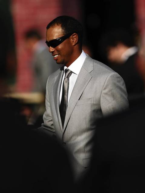 Tiger Woods parades to the stage during the Ryder Cup Opening Ceremonies at the Medinah Country Club in Medinah.