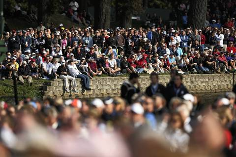 The crowd watches the Ryder Cup Opening Ceremonies at the Medinah Country Club.